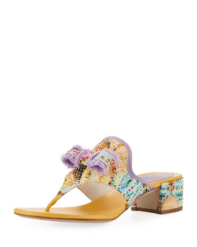 Floral Thong Sandal with Bow