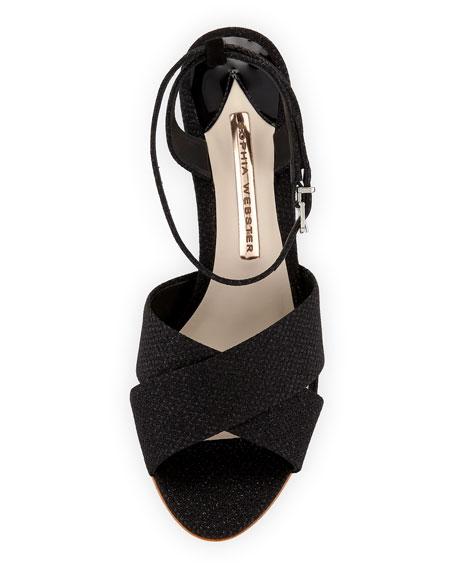 Natalia Mid Ball-Heel Glitter Sandal