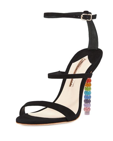 Rosalind Suede Rainbow-Heel Sandal