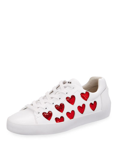 Nikita Sequin Heart Sneaker, White/Red