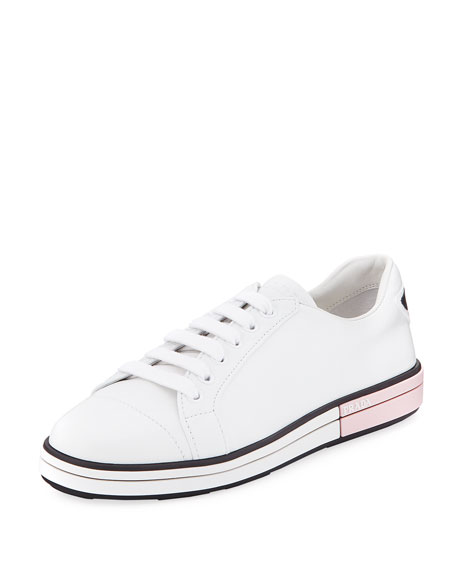 Leather Low-Top Sneakers With Two-Tone Heel, Bianco/Rosa