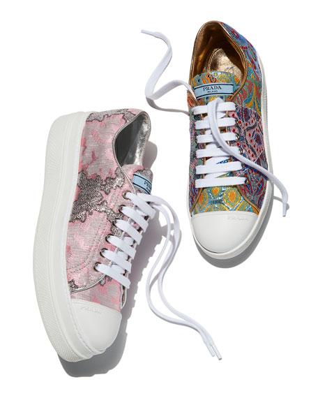 Metallic Jacquard Fabric Double-Sole Sneakers