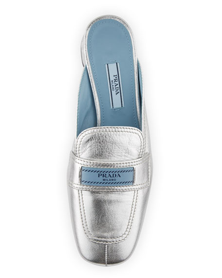 Metallic Leather 35mm Mule Loafer
