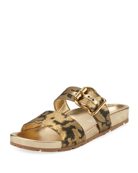 Prada Jacquard Double-Strap 15mm Slide Sandal