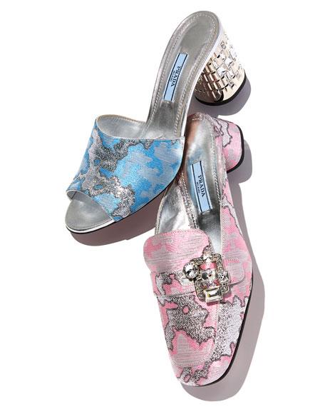 Metallic Jacquard Slide Mule