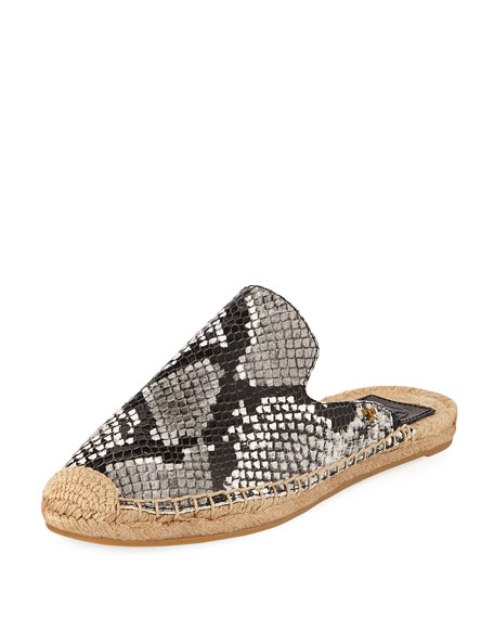 Tory Burch Max Snake-Print Espadrille Mule