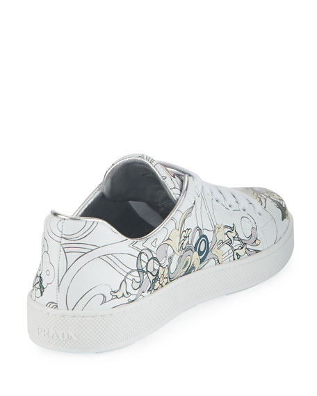 Rabbit-Print Leather Low-Top Sneakers
