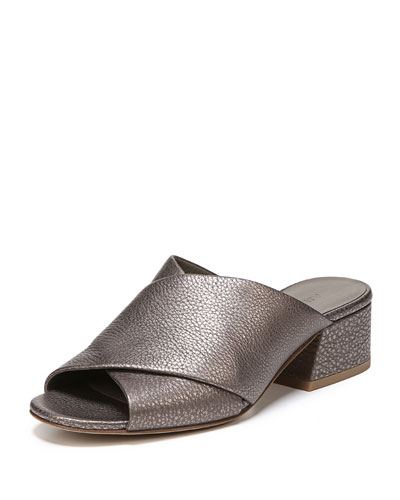 Karsen Metallic Crossband Slide Sandal