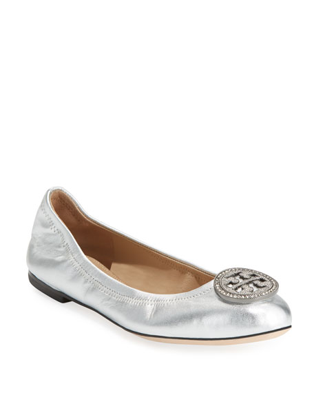 Tory Burch Liana Metallic Leather Ballerina Flat