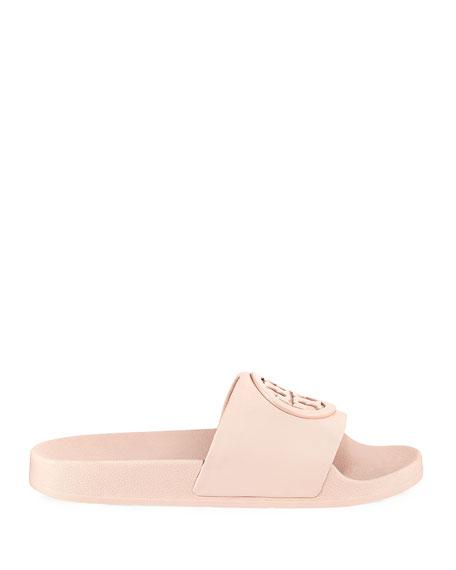 Lina Leather Flat Pool Slide Sandal