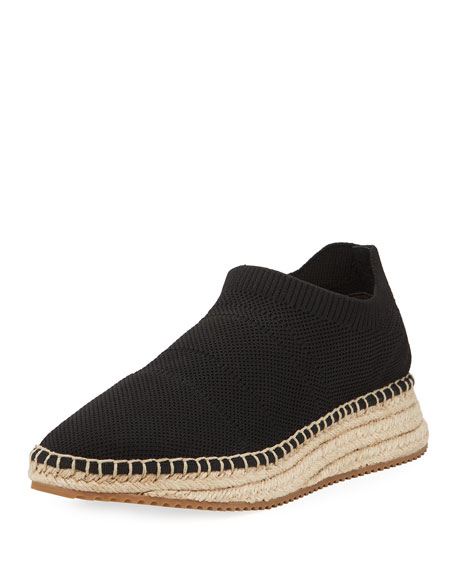 Dylan Black Knit Low Top Sneakers W/Jute Sole