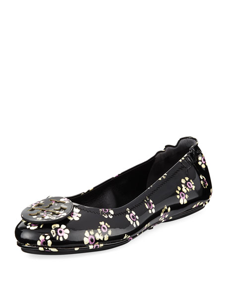 Tory Burch Minnie Stamped Floral Travel Ballerina Flat