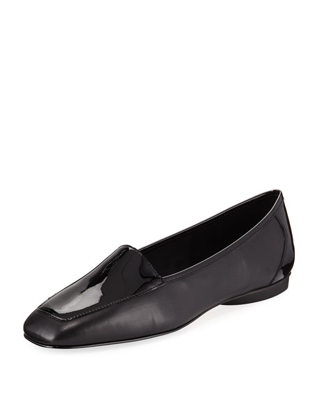 DONALD J PLINER Deedee Slip-On Mixed Leather Flat, Black in Black Leather