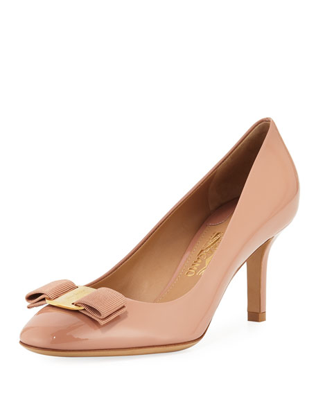 Salvatore Ferragamo Erice70 Vara Bow Patent 70mm Pumps,