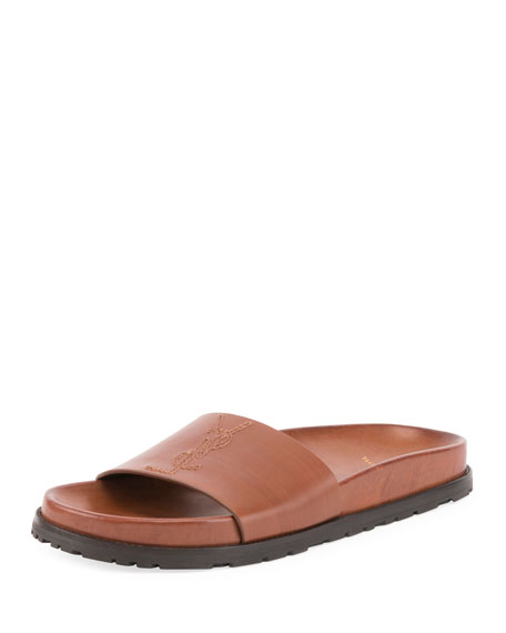 Saint Laurent Jimmy Joan Calfskin Flat Sandal