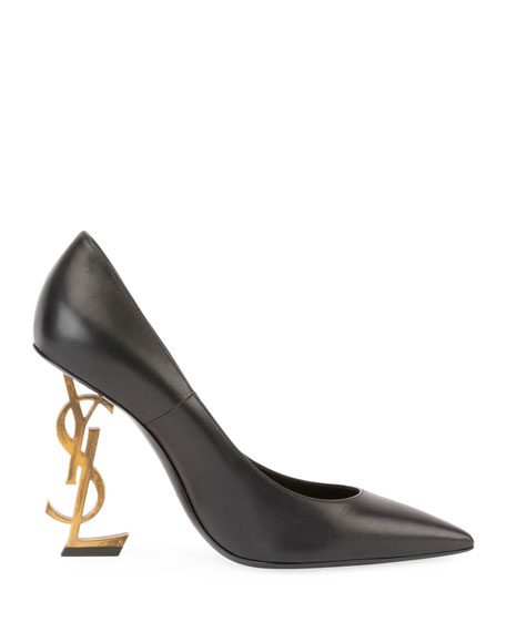 Opyum Leather Pump with Logo Heel