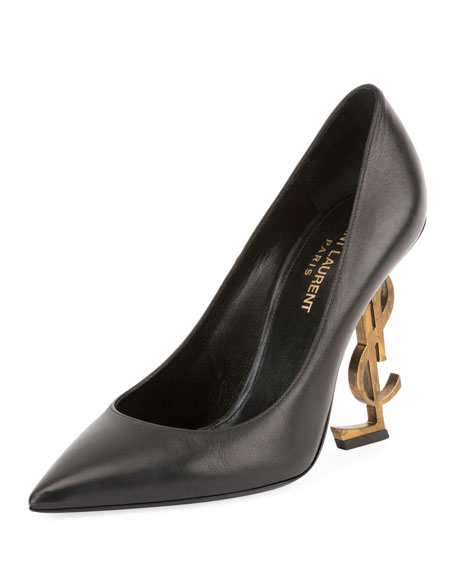 Saint Laurent Opyum Leather Pump with Logo Heel