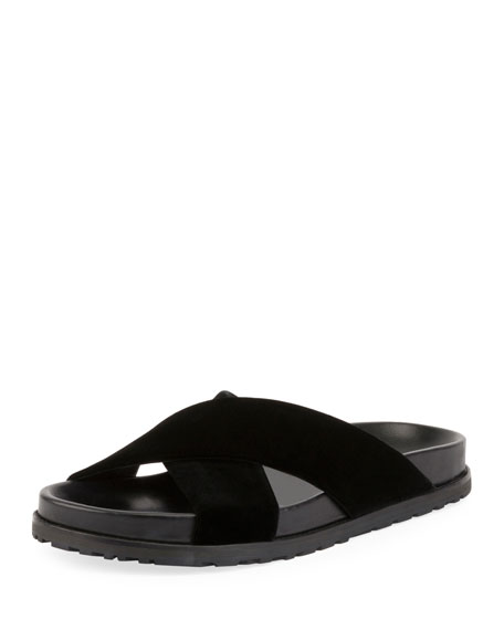 Saint Laurent Jimmy Joan Velvet Flat Slide Sandal