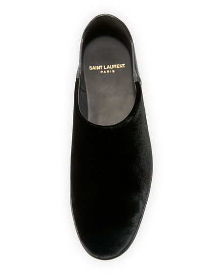 Fes Velvet And Leather Slipper Flat