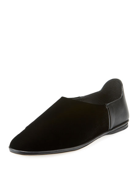 Saint Laurent Fes Velvet And Leather Slipper Flat