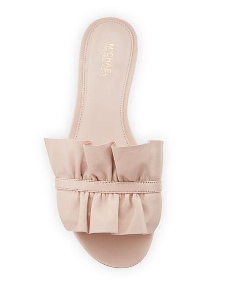 Bella Ruched Flat Leather Slide Sandal