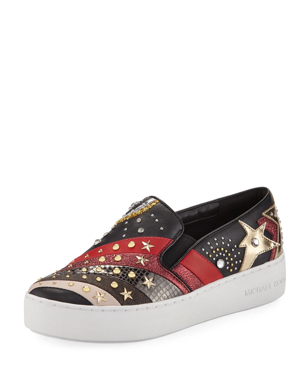 7e7e7e542a3c MICHAEL Michael Kors Trent Embellished Platform Skate Sneaker ...