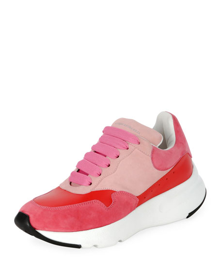 Pelle Colorblock Platform Trainer Sneakers