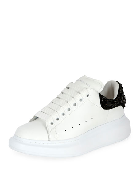 Alexander McQueen Pelle Embellished Two-Tone Low-Top Sneaker