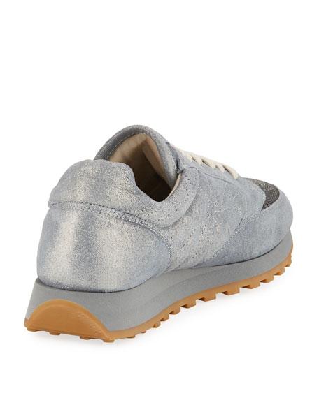 Metallic Leather Monili Trainer Sneaker