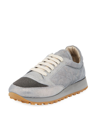 Metallic Leather Monili Trainer Sneaker