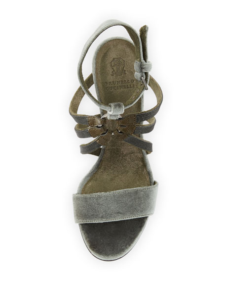 100mm Monili-Strap Velvet Sandal