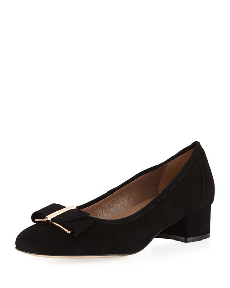 Fay Bow Suede Pump, Black