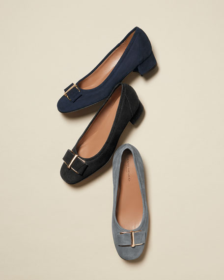 Fay Bow Suede Pump, Navy
