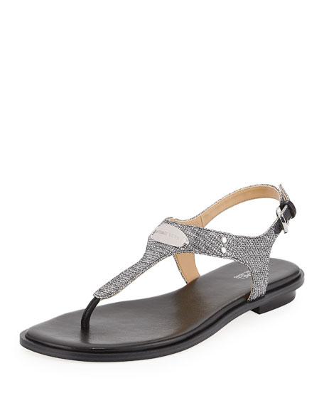 MICHAEL Michael Kors MK Plate Metallic Thong Sandal