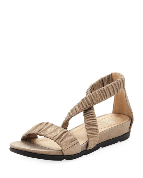 Eileen Fisher Dylan Scrunched Metallic Suede Flat Sandal