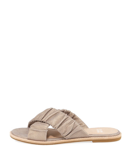 Cross Flat Metallic Suede Slide Sandal