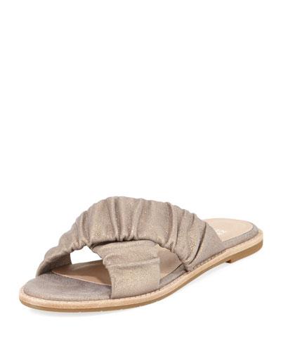 Cross Flat Metallic Suede Slide Sandal