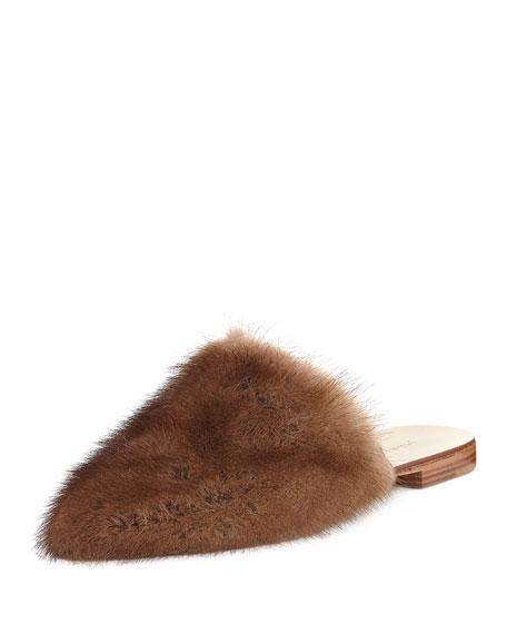 Jenni Kayne Flat Mink Fur Slide Mule, Dark