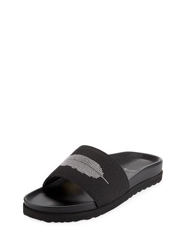 Feather Stud Slide Pool Sandal