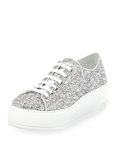 c9b7480f4938 Miu Miu Glitter Platform 55mm Sneaker, Silver from Neiman Marcus ...