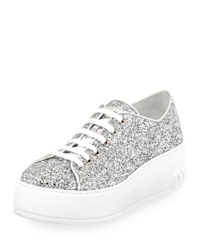 Glitter Platform 55mm Sneaker, Silver