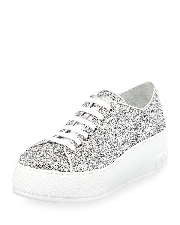 miu miu glitter platform 55mm sneakers silver neiman marcus. Black Bedroom Furniture Sets. Home Design Ideas