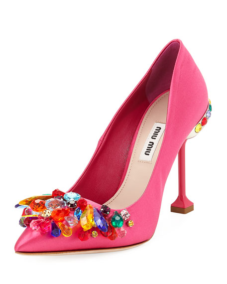 Miu Miu Jeweled Satin High 105mm Pump, Fuchsia
