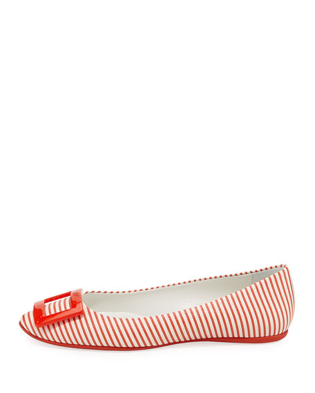 Gommette Striped Canvas Ballet Flat, Red/White