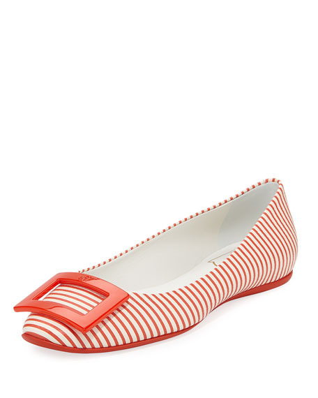 Roger Vivier Gommette Striped Canvas Ballerina Flat, Red/White