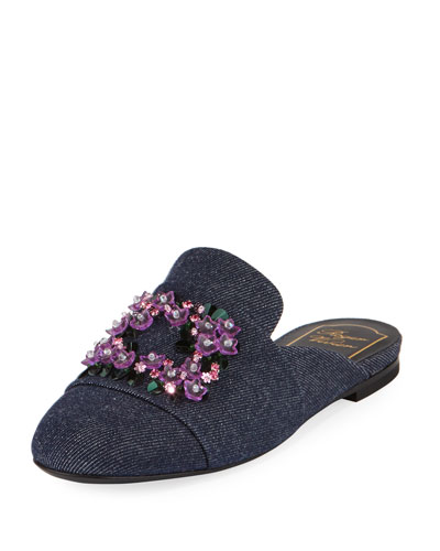 Violet Floral-Embroidered Denim Loafer Mule