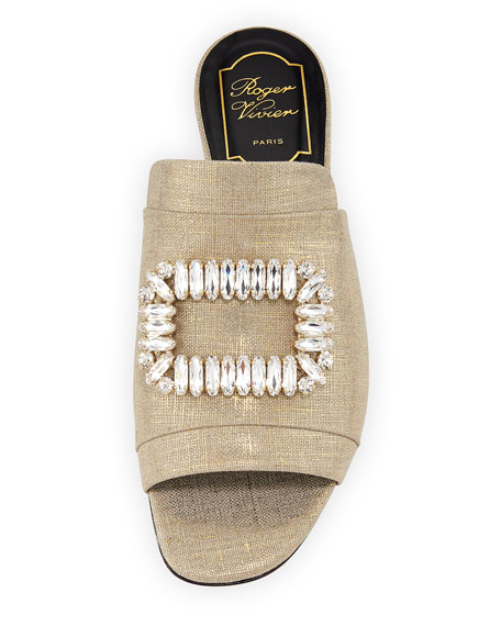 Strass-Buckle Metallic Canvas Slide Sandal