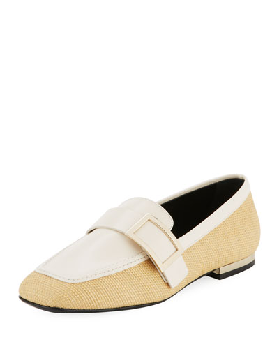 Bicolor Metal-Buckle Loafer