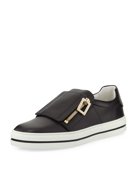 Sneaky Viv Calf Leather Platform Zip Sneakers