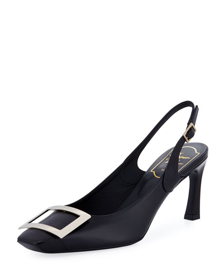 Leather Slingback Buckle Pumps